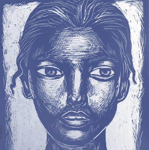 Helsingin kuvataidekoulun teos, jossa on piirretty naisen kasvot. Teos on piirretty sinisellä ja valkoisella.