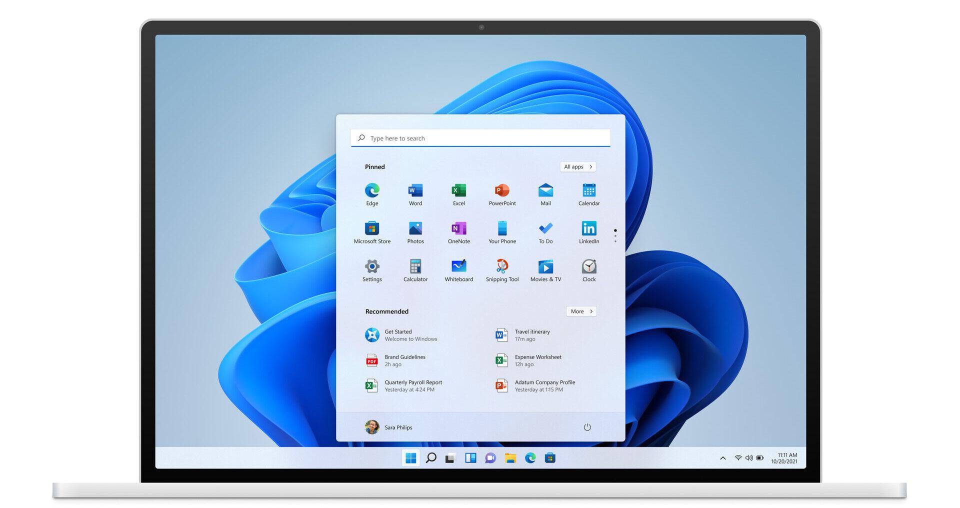Kuva lainattu Microsoftilta. Näyttökuva uudesta Windows 11 -käyttöjärjestelmästä.